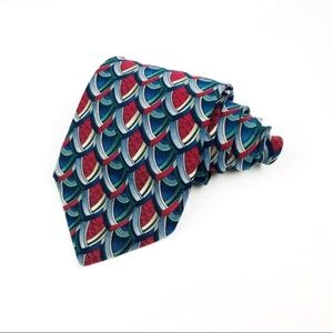 Wide Red Blue Geometric Abstract 100% Silk Tie